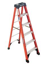 Werner 6-ft Fiberglass Step Ladder Aluminum Rung, Heavy Duty Type IA 300-lbs.