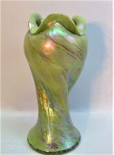 Rare RINDSKOPF Art Nouveau Art Glass Vase  Chartreuse c. 1900  Bohemian antique