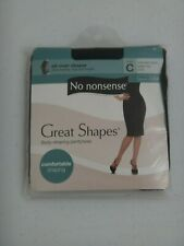 No nonsense Great Shapes All-over Shaper Black Tights Pantyhose MADE IN USA Sz C