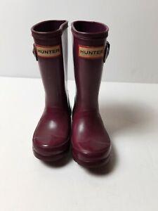Hunter Burgundy Kids Wellies Size UK 7 EUR 24 boots