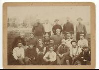 "VINTAGE 1901 BASEBALL TEAM PHOTO! 20 MEN WITH MUSTACHES, BAT & GLOVES! 7.5x5.5"""