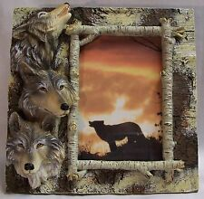 "Wolf Heads & Birch Wood Look Photo Picture Frame 4""X6"" Vertical"