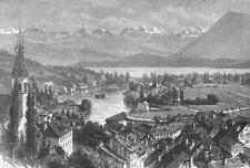 SWITZERLAND. Lake Thun c1885 old antique vintage print picture