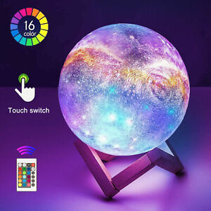 16 Colour 3D Moon Lamp USB LED Night Light Star Galaxy Touch Changing W/Remote