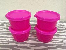 Tupperware 4oz Snack Cups w/ Seals Neon Pink New Set Of 4