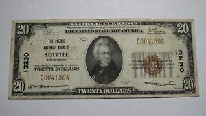 $20 1929 Seattle Washington WA National Currency Bank Note Bill Ch. #13230 VF!