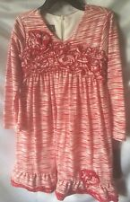 Isobella And Chloe Girls Red And White Print Empire Style Dress Size 5-New