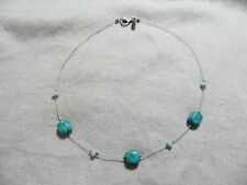 SILPADA Retired /Rare N1888 - Blue-Green Turquoise SS Bead Wire Necklace