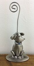 New Pewter & Rhinestone Dog Facing Right Photo or Note Holder St Nicholas Square