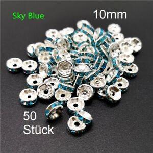 50 x Zwischenperlen 10mm Himmelblau silberfarbe Strassrondelle Spacer Strass