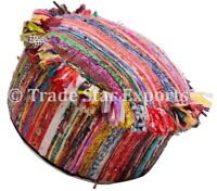 Indian Rag Rug Ottoman Pouf Cover Round Seating Pouf Bohemian Floor Pouffe
