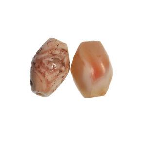 MUSEAL: 2 Achat Perlen mit seltener Maserung, Neolithikum Steinzeit Sahara RAR