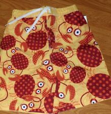 *JUMPING BEANS BOYS SWIMSUIT TRUNKS SIZE 7 YELLOW RED CRABS NWT