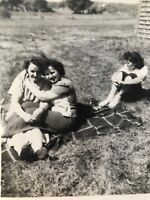 Vintage Snapshot Affectionate Women Odd Woman Out Blanket Grass Real photo D3