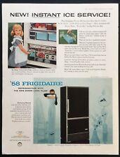 1958 Vintage Print Ad 50's FRIGIDAIRE Refrigerator GM Mid Century Appliance
