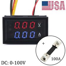 DC 0-100V Digital Amp Volt Meter Voltmeter Ammeter with Current Shunt 100A
