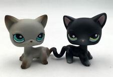 2pcs LPS #336 Standing Littlest Pet Shop Grey & Black Kitty #391 Shorthair Cat