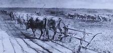 Breaking the Prairie, 8-Oxen Team, Magic Lantern Glass Slide, 1871 Harper's Week