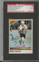 Denis Savard 1990 Panini Stickers Autograph #198 SGC Blackhawks
