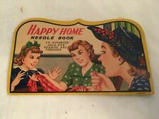 Vintage Happy Home Needle Book Assorted Gold Eye Needles