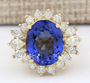 10.67 Carat Natural Tanzanite 14K Yellow Gold Diamond Ring