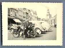 Belgique, Saint Trond Vintage silver print. Moto et voiture d'époque  Tir