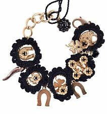 DOLCE & GABBANA SICILY Armband aus Messing Glass Schwarz Bracelet Black 03970