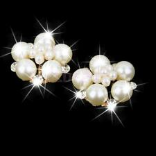 10pcs Faux Pearl Flower Rhinestone Buttons Craft DIY Embellishments Beige 25MM