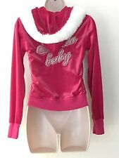Victoria's Secret Santa Baby Pink  Velour Zip Up Hoodie Jacket Small