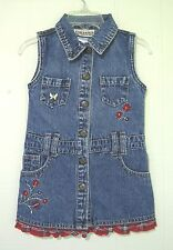 CARTERS Watch the Wear Girl's Denim Dress Sleeveless Embroidered Trim Size 2T