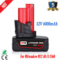 For Milwaukee M12 12 Volt XC 6.0Ah Extended Capacity Battery 48-11-2460 Lithium
