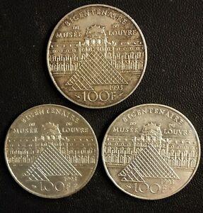 100 Franc en argent  Bicentenaire du Louvre  x 3 :TTB et SUP...