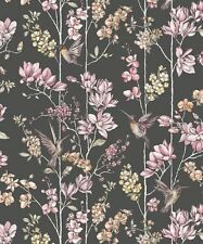 Holden Charm Black Dusky Pink Hummingbirds Floral Feature Wallpaper 12393