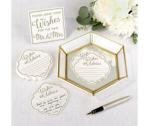 wishes and advice cards with gold geometric tray wedding guest book alternative