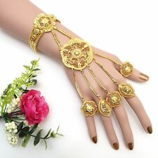Indian Asian Bridal Jewellery Ethnic Wear 22ct Gold Plated Bracelet With 5 Rings