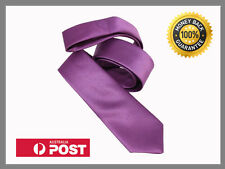 Purple New Slim Solid Mens silk Tie groom wedding skinny Necktie