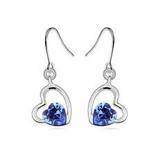 Beautiful Crystal Royal Blue & Rhinestones Hearts Drop Dangle Earrings E512