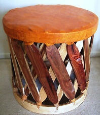 """Equipale Leather Round Footstool 17"""" Standard - Brick"""
