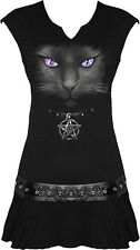 Spiral Black Cat Stud Waist Mini Dress Top Tunic Goth Pentagram Occult S UK 8