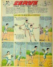 1960 Tennis Comic Strip Type Magazine ILLustrators Page