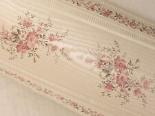 Pink Rose Bouquet Ribbon Ivory MOIRE Flower Satin Wall paper Border