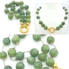 """Nephrite Jade Vermeil .925 Sterling Silver Clasp Necklace 19"""""""