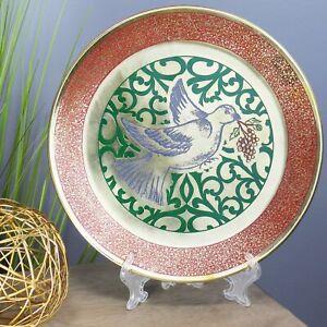 Natural Geo Blue Dove Decorative Brass Accent Plate