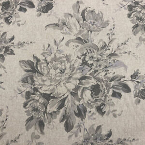 Camilla French Faded Roses Floral Linen Fabric in Grey | Double Width Curtains