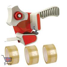 1 X PACKING TAPE GUN DISPENSER 50mm & 3 X STRONG ROLLS CLEAR TAPE 48MM X 66M NEW