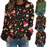 Women Christmas Crew Neck Long Sleeve T Shirt Casual Print Blouse Loose Warm Top