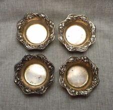 Vintage Set of 4 Dominick & Haff Sterling Floral Rim Individual Open Salts #802