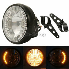 "7"" LED Universal Motorcycle Headlight Turn Signal Light Black Bracket Mount"