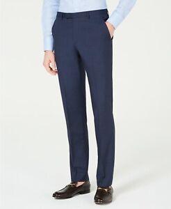 $198 Hugo Boss Dark Blue Slim-Fit Mini-Check Pants Mens 40R 40 x 34 NEW