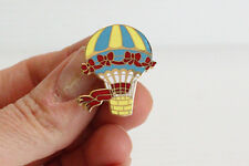 HOT AIR BALLOON PIN, balloon with ribbons, colorful pin, Metal pin, gift for her